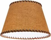 Oiled Parchment 12 Inch Empire Uno Fitter Lamp Shade With Stitched Trim