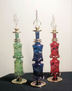 Set Of Three 9 Egyptian Perfume Bottles + 24k Gold Plated + Mouth Blown