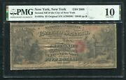 1865 5 The Second Nb Of The City Of New York Ny Ch. 2668 Pmg Vg-10 Unique