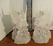 Set Of 2 Acrylic Double Angel Taper Candle Holders Christmas Table Decorations