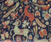 Traditional Vintage Woodland Tapestry Curtain/upholstery Fabric Navy Blue
