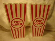 Set 2 Plastic Popcorn Containers Buckets Movie Night Square Tubs H=6.75  34