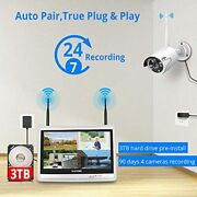 Wireless Security Camera System Waterproof Night Vision With 12 Lcd Monitor New