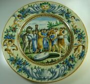 19th Century Antique Italian Pottery Hand Painted Large Plate Huge Charger 20''