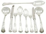 Antique Edwardian Sterling Silver Canteen Of Cutlery For Six Persons