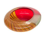 Murano Afro Celotto Red Clear And Orange Striped Art Glass Bowl Vase 2002