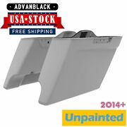 Advanblack Unpainted Dual Cutout Stretched Saddlebags Bags Bottom For 14+ Harley