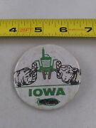 Vintage Iowa Beef Hog Farming Tractor Agriculture Pin Button Pinback Ee90