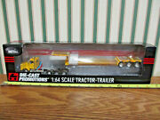Yellow Kenworth T800 Semi With Fontaine Flip Axle Lowboy Trailer By Dcp