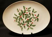 Lenox Holiday 16 Oval Serving Platter Christmas Holly Berries Mint X252