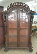 19th C Heavily Carved Italianate Cabinet W Satyrs And The Face Of The Wind