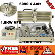 1.5kw Cnc 4axis Router 6090gz Engraver Usb Drill Mill Machine Metal Woodworking