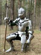 Medieval Knight Full Face Armor Larp Crusader Combat Wearable Axe Armour Suit