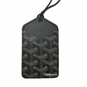 Goyard Choiseu Card Holder Pass Case With String Black Coated Canvas Leather New