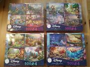 Thomas Kinkade Disney 500 Pcs 4 In 1 Lot Of 4 Puzzle Boxes 16 Puzzles In All