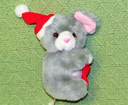 Vintage Christmas Mouse Plush Ornament Pbc 5.5 Grey With Red Santa Hat Stocking