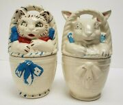 1940and039s Easter Bunny Rabbit + Cat In A Basket Cookie Jars American Pottery Bisque