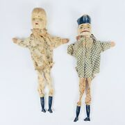 Pair Of Antique Hand Carved Wood And Cotton Clothing European Puppets 19th C