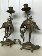 Exceptional Pair Of Bronze/brass Crane And Turtle Statues With Candlestick Ca1920