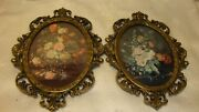 Vintage Set 2 Victorian Gold-tone Frame Ornate Art Floral Theme Made Italy 36