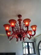 Murano Red Glass Chandelier 8 Lights - From Italy