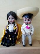 Vintage Antique Mexican Dolls -male And Female Sombrero Collectible Moving Limbs