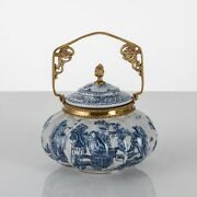 Chinoiserie Brass Blue And White Chinese Porcelain Ginger Jar Box