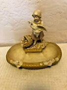 Royal Dux Figural Bowl Tray Girl Holding Duck C1910