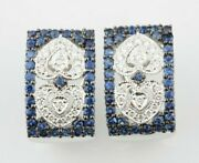 14k White Gold Diamond And Sapphire Plaque Huggie Earrings With Antiqued Accents