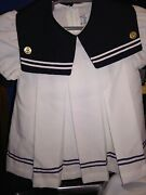 3t Girls Sailor Dress White With Navy Lapel And Trim Anchor Buttons Vintage Usa