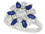 1.10ct Sapphire And 1.20ct Diamond 18ct White Gold Cluster Ring - Vintage -size M