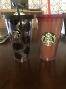 2 Starbucks 2014 Holiday Grande Tumblers Cold Cups Red Glitter And Polka Dot