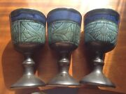 3 Striking Studio Pottery Arts Crafts Style 6.5'' Goblets - Blues And Black - By B
