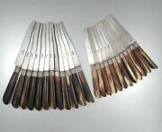 Antique French Knives, Steel Blades Horn Handles Silver Collars, Stamped, 24 Pcs
