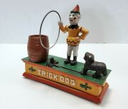 Vintage Piggy Bank Cast Iron Trick Dog Mechanical Old Fashion Coin Bank Toy Used