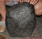13china Hongshan Culture Meteorite Iron Carved Primitive People Sun Text Statue