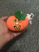 Vintage Small Stuffed Pumpkin With Ghost Halloween Decorations Old Great Shape
