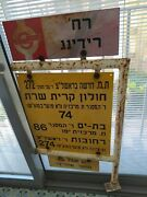 Bilingual English/hebrew Egged Bus Stop Signs Israel Not Including Post