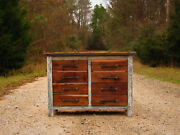 Black Walnut Chest Of Drawers. Reclaimed Industrial Tool Cabinet Entry Table