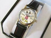 Disney Mickey Mouse Womens Watch With Genuine Leather Band And Date Mk1003