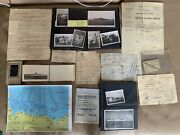 Super Rare Ww2 French Navy D-day Omaha Beach Cruiser Paperwork And Photographs