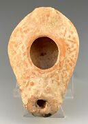 Ancient Bow Shaped Oil Lamp W/ Cross Holy Land A.d. 500-600 A.d. Scarce
