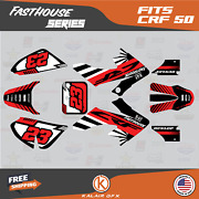 Graphics Kit For Honda Crf50 2004-2012 Or 2013-2021 Crf 50 Fh- Red Black 1