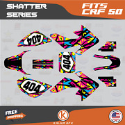 Graphics Kit For Honda Crf50 2004-2012 Or 2013-2021 Crf 50 Shatter- Pink