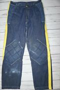 Vintage Pro-x Padded Dirtbike Denim Jeans Pants With Yellow Stripe Dirt Track M