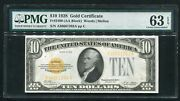 Fr. 2400 1928 10 Gold Certificate Currency Note Pmg Choice Uncirculated-63epq