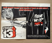 Friday The 13th Part 1 And 2 Original 1981 British Double-bill Quad Cinema Poster