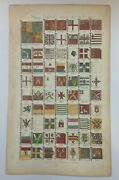 Maritime Flags Of Nations 1789 By Cooke Antique Engraved Plate 18th Century