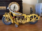 Vintage Hubley Indian Motorcycle Cast Iron Toy