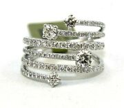 Natural Round Diamond Bypass Criss Cross Cluster Ring Band 14k White Gold 1.26ct